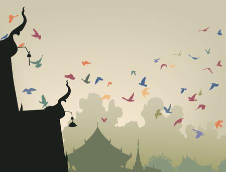 pigeons flying: Ilustraci�n de coloridos palomas volando a un techo del templo budista