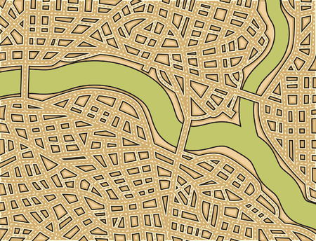 Editable illustration of a generic street map with no names Vector