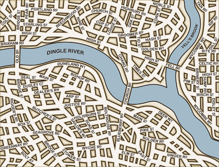 Editable street map of a generic city with names on a separate layer Vector
