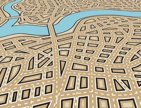 Editable illustration of an angled generic street map with no names Vector