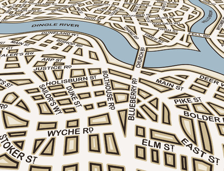 slant: Editable street map of an angled generic city with street names