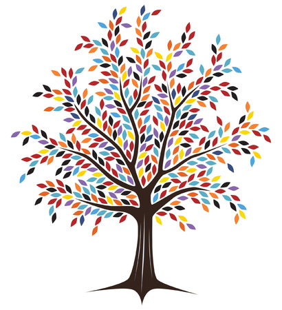 basics: Editable tree design with colorful leaves