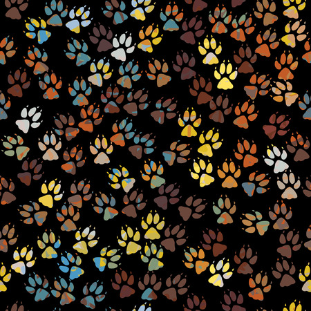 animal tracks: Editable seamless tile of colorful dog paw prints Illustration