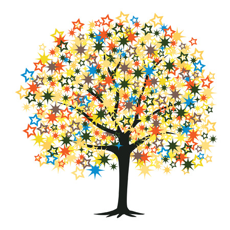 golden star: Editable illustration of a tree with colorful stars as leaves