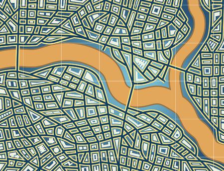 nameless: Colorful editable vector map of a generic city Illustration