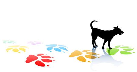 huellas de perro: Ilustraci�n editable de la silueta de una perro joven y pata coloridas impresiones con espacio para texto
