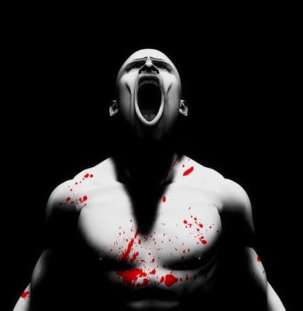 venganza: Procesa la imagen de un hombre enojado con sangre salpicada de su cuerpo