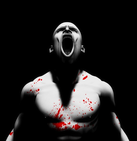 enraged: Rendered image of an angry man with blood splattered on his body