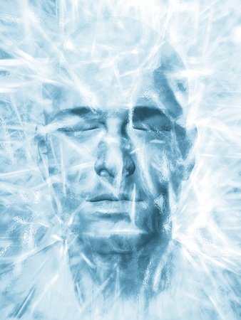 science fiction: Render of a mans head frozen in a block of ice