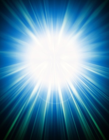 rays light: Abstract background of a white explosion on blue Stock Photo