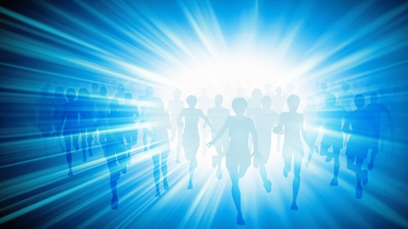 Illustration of a large group of people running with a burst of white light on a blue background illustration