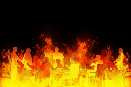 raging: Rendered illustration of a business meeting in a raging fire Stock Photo