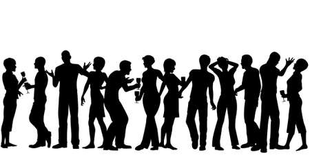 social gathering: Editable vector silhouettes of men and women standing at a party with every person as a separate object Illustration