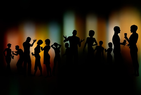 Editable silhouettes of people at a party with the background made with a gradient mesh Stock Vector - 9235028