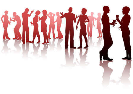 Editable silhouettes of people socializing at a party Vector