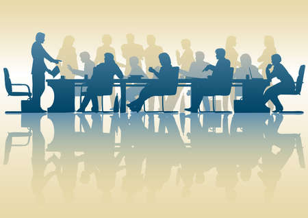 business people meeting: Editable silhouette of people in a meeting with reflection