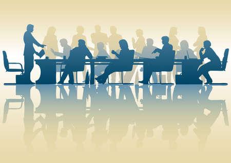 business discussion: Silueta editable de personas en una reuni�n con reflexi�n
