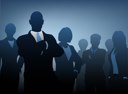 team worker: silhouettes of a business team Illustration