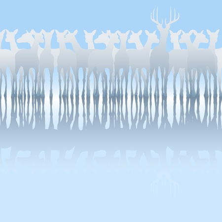 harem: Editable vector silhouette of a herd of deer and reflection Illustration