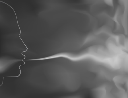 the breath: Editable vector illustration of a man blowing smoke made with a gradient mesh Illustration