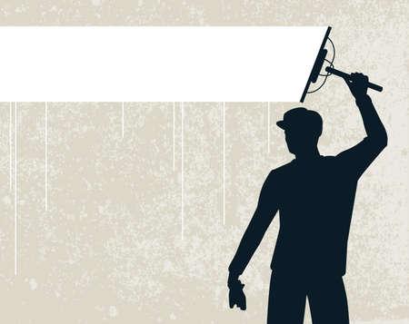 cleaners: Bewerkbare vector silhouet van een man die een achtergrond stripe schoonmaken