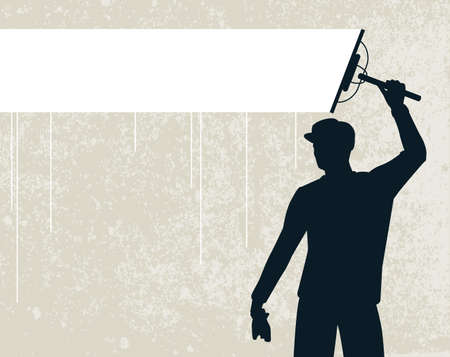 wipe: Editable vector silhouette of a man cleaning a background stripe Illustration