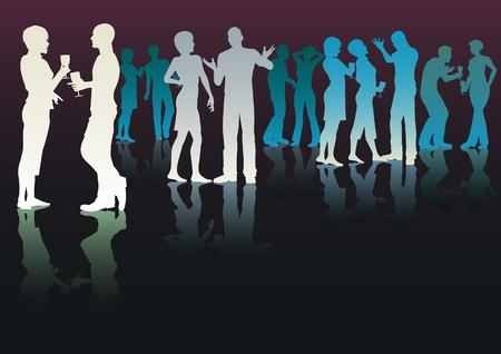 socializando: Siluetas vectorial editable de personas en una fiesta de socializaci�n
