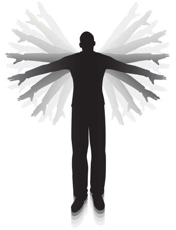 endeavor: Editable vector silhouette of a man flapping his arms trying to fly