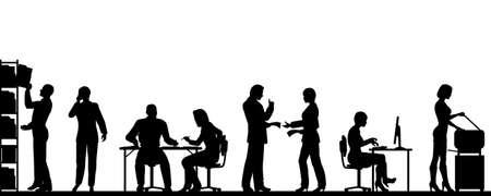 офис: Редактируемые силуэты людей в большом офисе, всеми элементами, как отдельные объекты