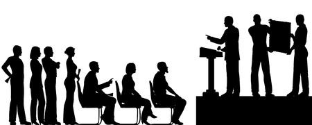 bid: Editable siluetas de personas en una subasta de arte Vectores