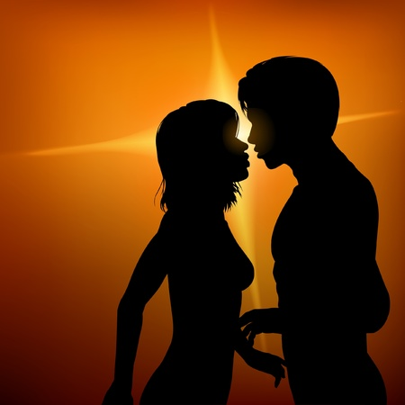 Editable silhouette of two young lovers about to kiss with background made with a gradient mesh Stock Vector - 9660423