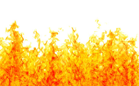 orange inferno: Rendered flames as a firewall on a white background