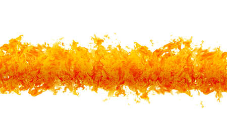 blazing: Rendered flames in a fiery line on a white background Stock Photo