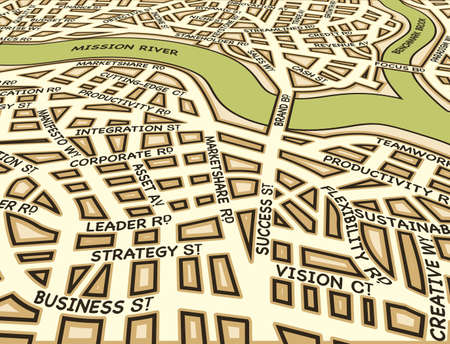 road to success: Editable street map of a generic city with business street names