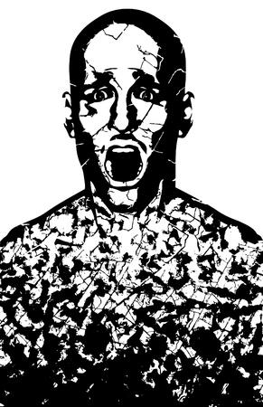 anguish: a man breaking apart