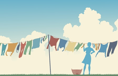 clothes line: Editable vector silhouette of a woman hanging clothes on a washing line