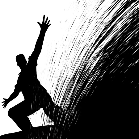 Editable vector illustration of a man sliding with grunge splash Stock Vector - 9717223