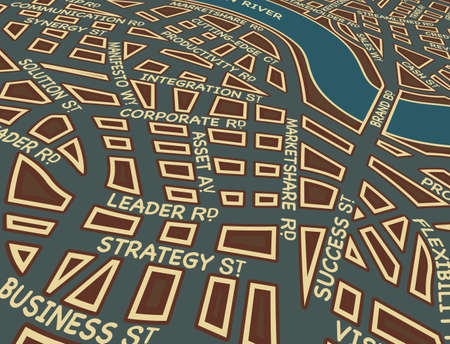 road to success: Editable vector map of a generic city with business street names Illustration
