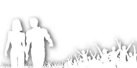 Editable cutout of a couple walking and crowd cheering with background shadow made using a gradient mesh Vector