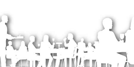 dining: Editable cutout of people dining in a restaurant with background shadow made using a gradient mesh