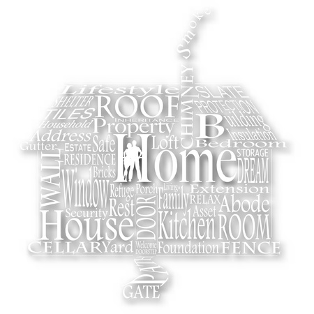 homely: cutout of a house made from homely words with background shadow made using a gradient mesh