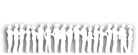 fila de espera: Recorte editable de personas de pie en una cola con sombra de fondo con una malla de degradado Vectores