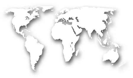 world map outline: a world map with drop shadow made using a gradient mesh