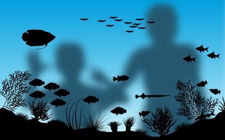 algas marinas: Ilustraci�n vectorial editable de madre borrosa e hijo mirando peces en un acuario con fondo utilizando una malla de degradado Vectores