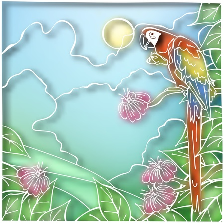macaw: Editable vector illustration of a macaw parrot in batik style made using a gradient mesh