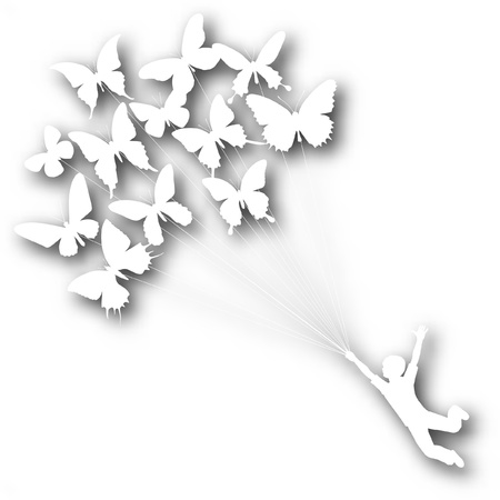 dream: Vector cutout silhouette of a boy carried by flying butterflies with background shadow made using a gradient mesh