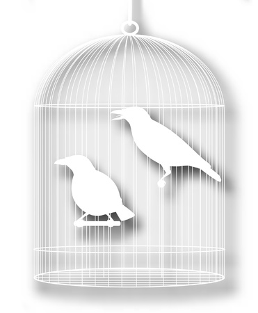 caged: Editable vector illustration of a pair of caged myna birds with background shadow made using a gradient mesh