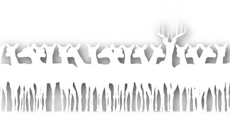 harem: Editable vector cutout silhouette of a herd of deer with background shadow made using a gradient map Illustration