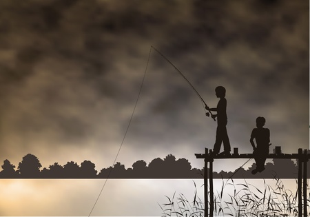 lake shore: Editable vector scene of two boys fishing from a wooden jetty with background made using a gradient mesh