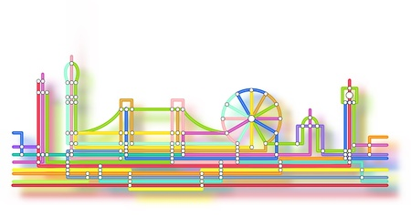 london tower bridge: Editable vector abstract design of the London skyline in the style of an underground map with background glow made using a gradient mesh